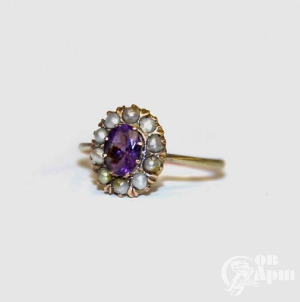 Кольцо с жемчугом и аметистом