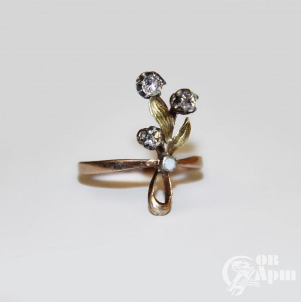 "Кольцо ""Веточка"" с бриллиантами"