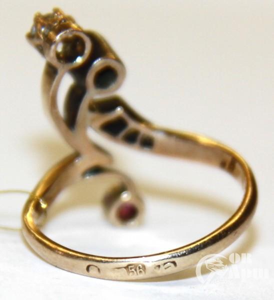 """Кольцо """"Веточка"""" с бриллиантами, алмазами и рубином"""