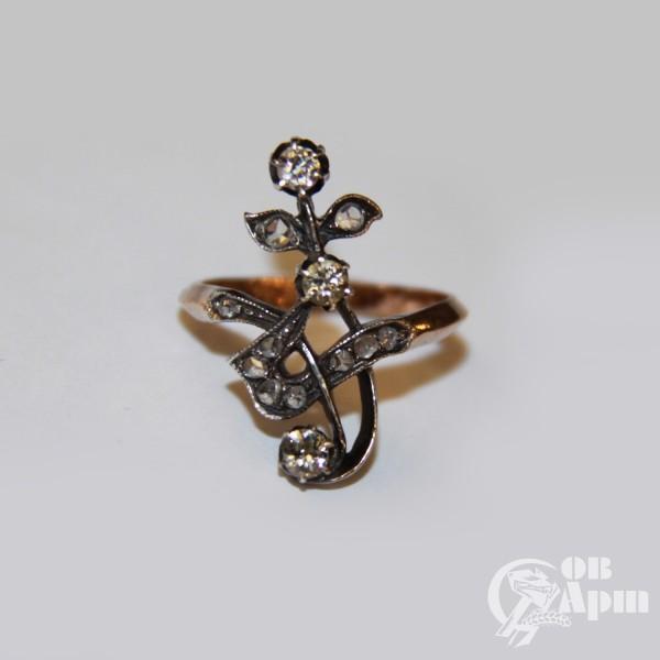 """Кольцо """"Веточка"""" с бриллиантами и алмазами"""
