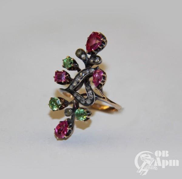 """Кольцо """"Веточка"""" с демантоидами, рубинами и алмазами"""