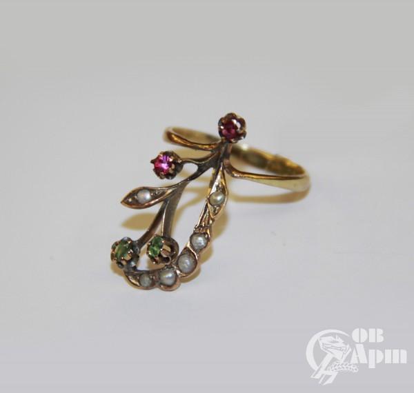 """Кольцо """"Веточка"""" с демантоидами, рубинами и жемчугом"""