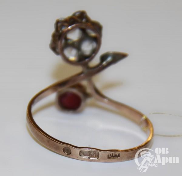 """Кольцо """"Веточка"""" со смальтой и горным хрусталем"""
