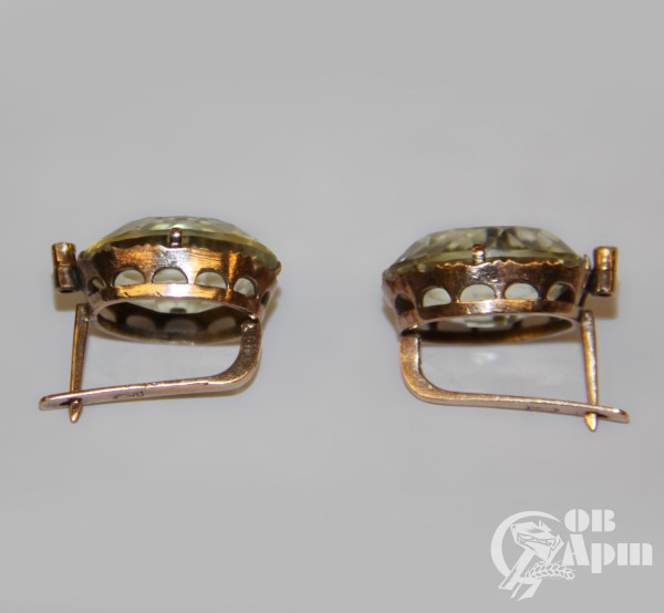 Комплект с цитринами: серьги и кольцо фирмы Хлебникова