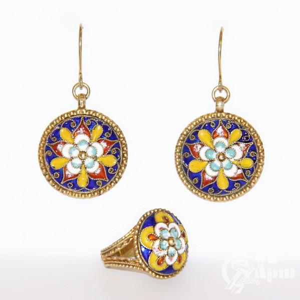 Комплект: серьги и кольцо с цветной эмалью