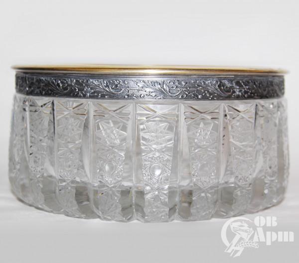 Конфетница, хрусталь в серебре
