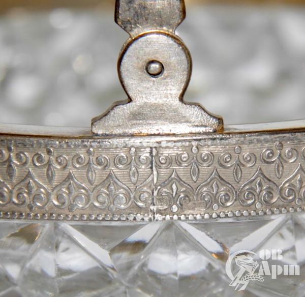 Конфетница хрустальная в серебре