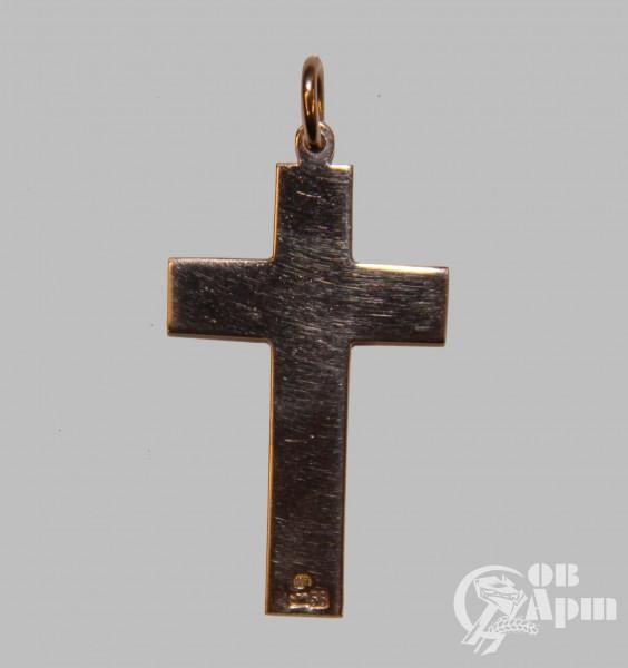 Крест нательный с голубой эмалью