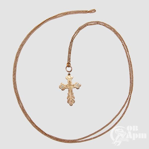 Крест с эмалью на цепочке