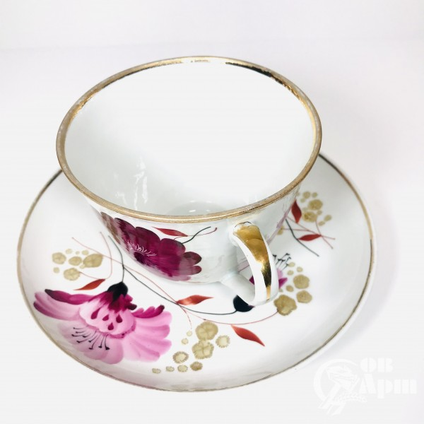 Крупная чайная пара «Лиловый цветок»