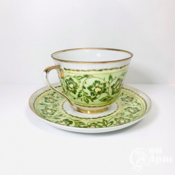 Крупная чайная пара «Зелёный орнамент»