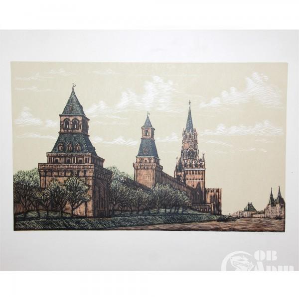 """Линогравюра """"Башни Кремля"""""""