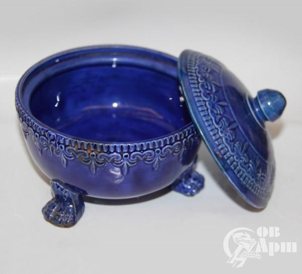 Масленка синяя с орнаментом