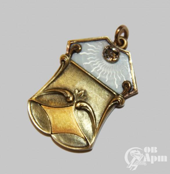 Медальон с голубой  эмалью 6-ая Московская Артель
