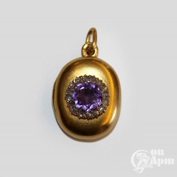 Медальон с с аметистом и алмазами