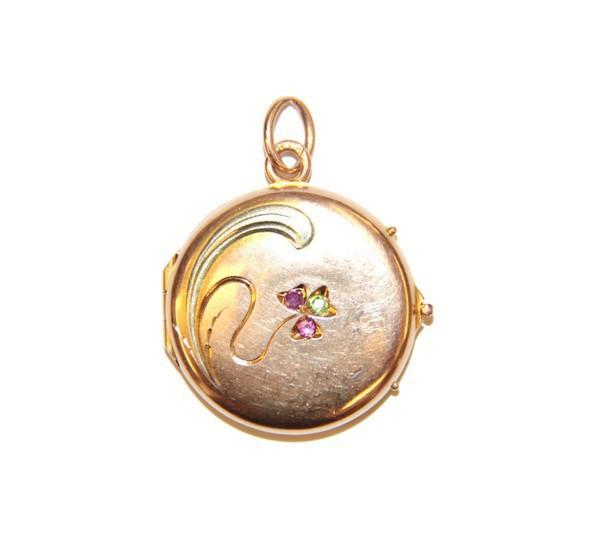 """Медальон """"Трехлистник"""" с рубинами и демантоидом"""