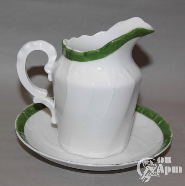 """Молочник с блюдцем """"Зеленая кайма"""""""