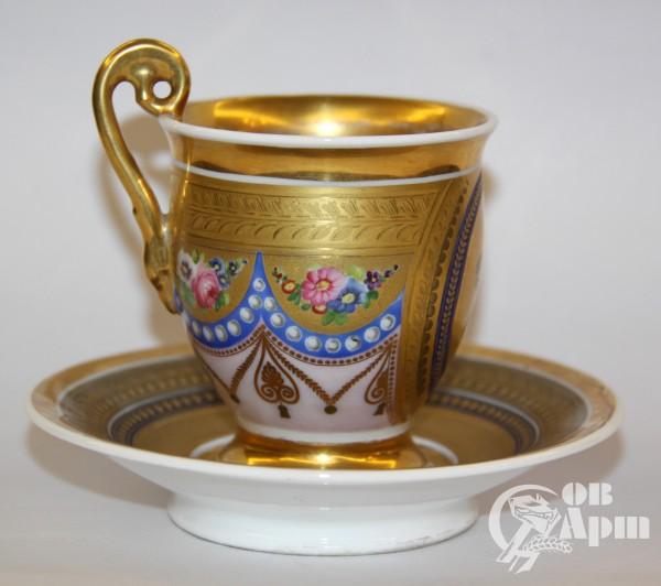 Пара чайная в стиле ампир c античным сюжетом