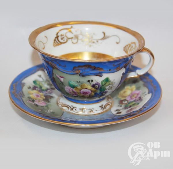 """Пара чайная """"Цветы"""" з-д Гарднера"""
