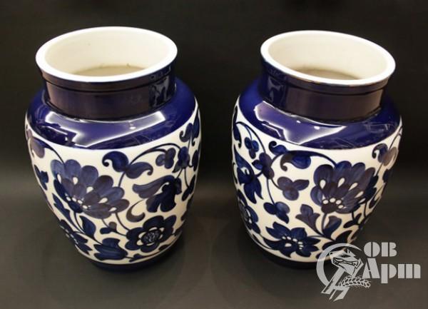 """Парные вазы """"Синий орнамент"""""""