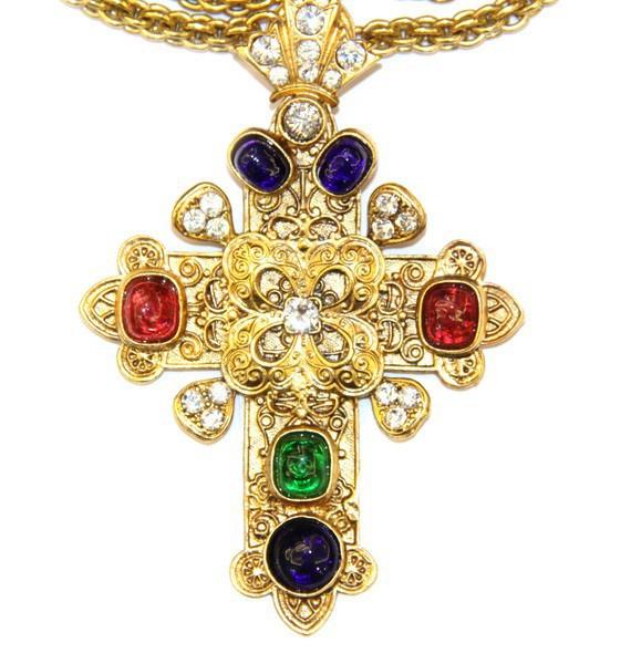 """Подвеска Chanel """"Крест"""" c цветными вставками Gripoix"""