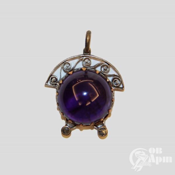 Подвеска с аметистом и алмазами