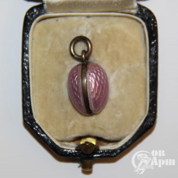 Подвеска яйцо пасхальное с розовой эмалью