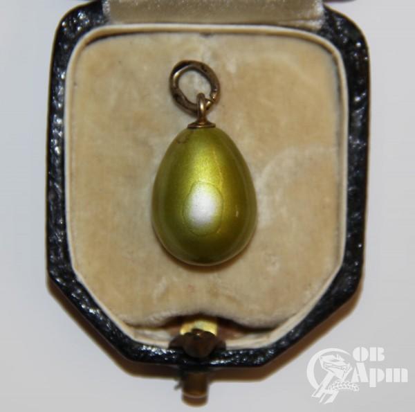 Подвеска яйцо пасхальное с желто-зеленой эмалью