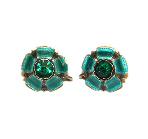 Серебрянные клипсы с зеленой эмалью