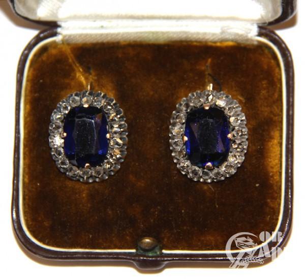 """Серьги """"Малинки"""" с алмазами и синим стеклом"""
