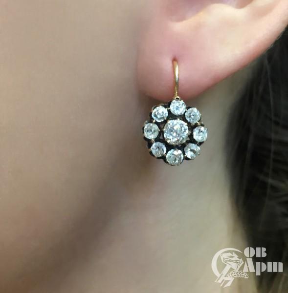 """Серьги """"Малинки"""" с бриллиантами"""