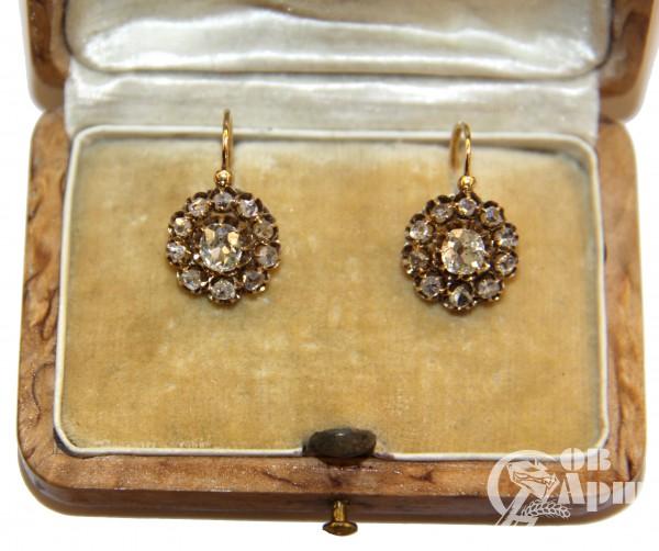 Серьги малинки с бриллиантами и алмазами