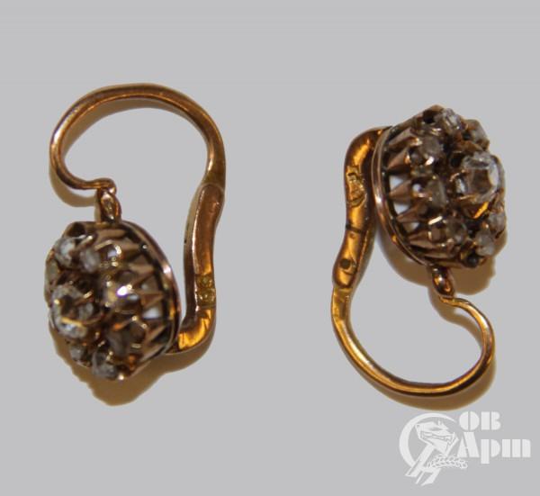 """Серьги """"Малинки"""" с бриллиантами и алмазами"""