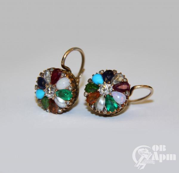 """Серьги """"Малинки"""" с разноцветными камнями"""