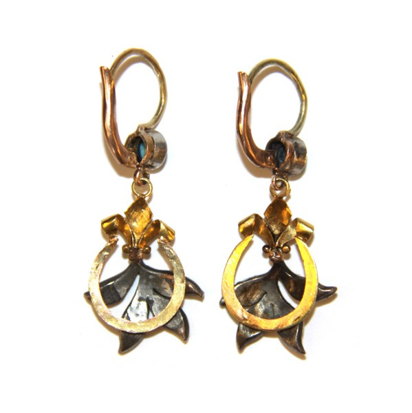 Серьги-подвески с бирюзой и алмазами