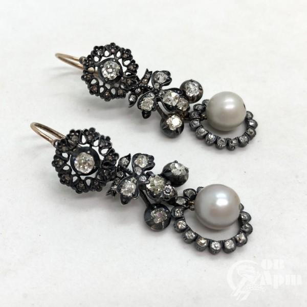 Серьги-подвески с бриллиантами и жемчугом