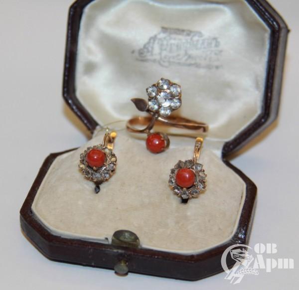 Серьги с алмазами и смальтой