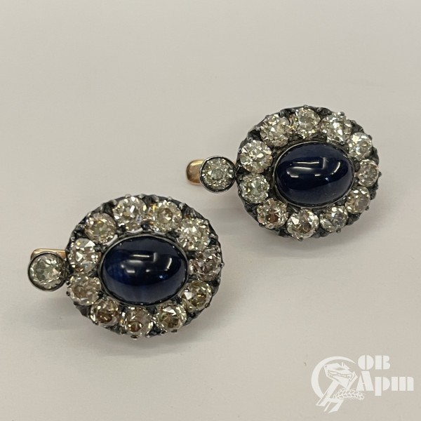 Серьги с бриллиантами и сапфирами