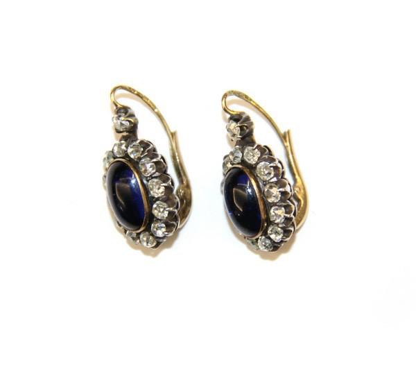Серьги с бриллиантами и ювелирным стеклом