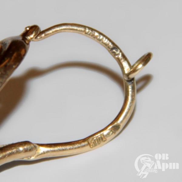 Серьги с эмалью, бриллиантами и алмазами