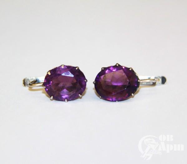 Серьги с фиолетовыми вставками