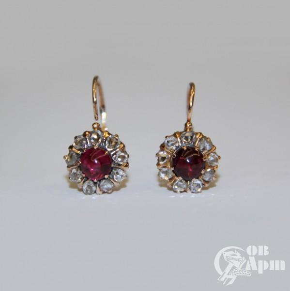 Серьги с рубинами и алмазами