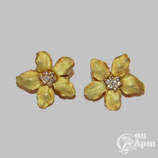 """Серьги """"Цветы"""" с бриллиантами"""