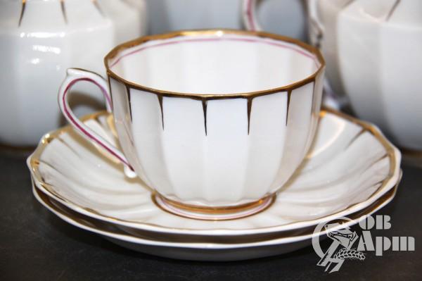 """Сервиз чайный """"Белый с золотой каймой"""""""