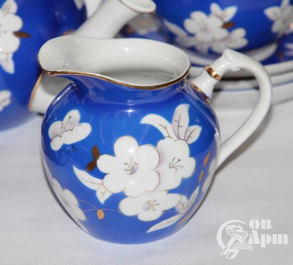 """Сервиз чайный """"Яблоневый цвет на синем"""""""