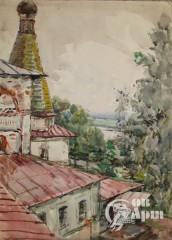 """Акварель """"Вид с колокольни Феропонтового монастыря"""""""