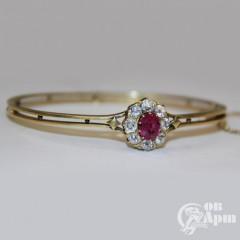 Браслет с рубином природным и бриллиантами