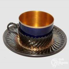 Чайная пара кобальтовая в серебре