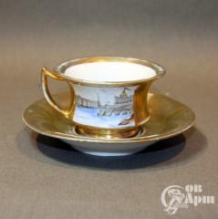 Чайная пара с видами Санкт-Петербурга завода Батенина