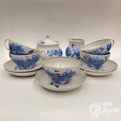 """Чайный сервиз """"Голубые цветы"""" на пять персон"""